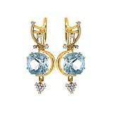 Золотые серьги с топазами и бриллиантами Гроно
