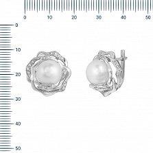 Серьги из белого золота Афродита с жемчугом и бриллиантами