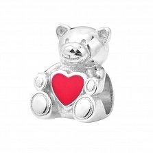 Серебряный шарм Мишка с сердечком с красной эмалью