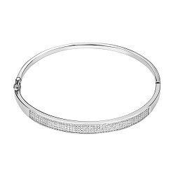 Жесткий серебряный браслет с цирконием 000140014