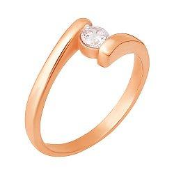 Кольцо из серебра с фианитом и позолотой 000028195
