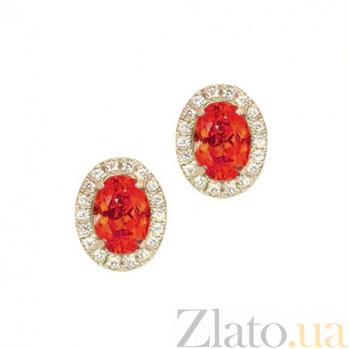 Золотые серьги с сапфирами и бриллиантами Райские ягоды Осень 000029611