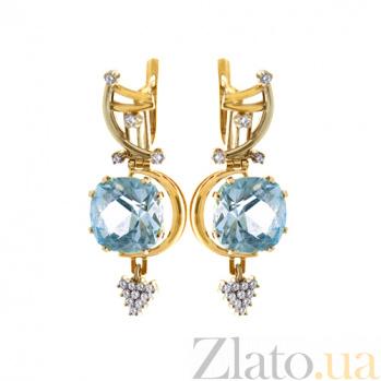 Золотые серьги с топазами и бриллиантами Гроно PTL--Гроно/с