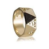 Золотое кольцо Бамбино с эбеновым деревом