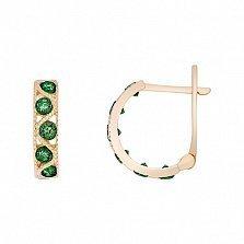 Золотые серьги Вальс с зелеными фианитами