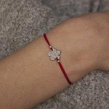 Шелковый браслет со вставкой Цветочек