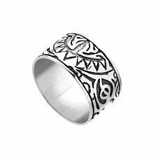 Серебряное кольцо Маори с чернением и узорами на шинке