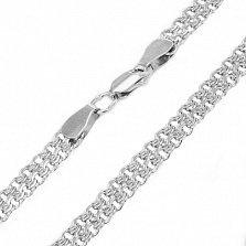 Серебряная цепочка Лимбо в плетении двойной бисмарк