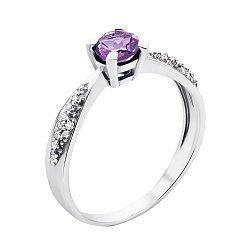 Серебряное кольцо с аметистом и фианитами 000133649