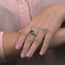 Серебряное кольцо Инканта с синтезированным турмалином и фианитами