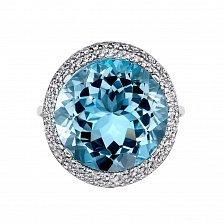 Кольцо из белого золота с топазом и фианитами 000134839