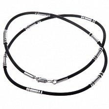 Каучуковый шнурок Лантир с серебряными вставками