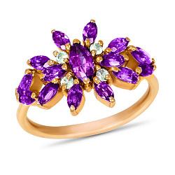 Золотое кольцо Батерфляй с синтезированными аметистами и белыми фианитами