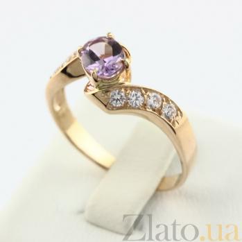 Золотое кольцо Соблазн с аметистом и фианитами  VLN--112-1117-4