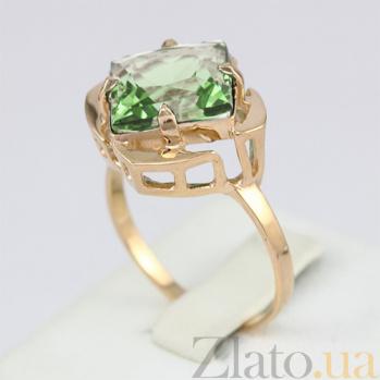Золотое кольцо Веста с синтезированным аметистом 000024494