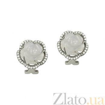 Серебряные серьги с агатом и фианитами Винтажная роза 3С107-0045