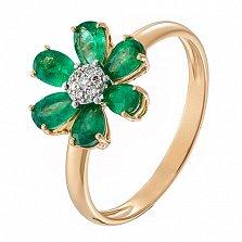 Золотое кольцо с изумрудами и бриллиантами Скарлетт