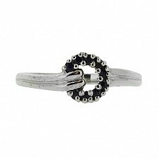 Серебряное кольцо с бриллиантами и сапфирами Лебария