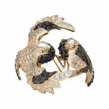 Кольцо из красного золота Голубиная пара с черными и белыми фианитами