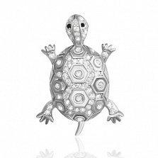 Серебряный подвес Черепашка с кристаллами циркония