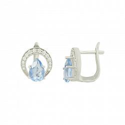 Серебряные серьги с флюоритом и цирконием Делисия