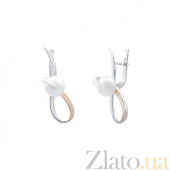 Серебряные серьги Инесса с жемчугом и золотыми вставками AQA--192Сж