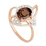 Золотое кольцо с раухтопазом и фианитами Фея