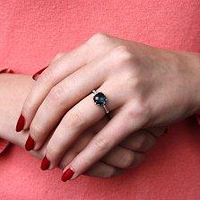 Золотое кольцо Аделаида в белом цвете с лондон топазом и фианитами