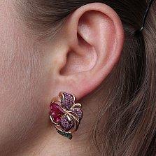 Золотые серьги Сказочный цветок с рубинами и разноцветными фианитами