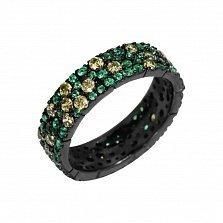 Серебряное кольцо Брина с зелеными и оливковыми фианитами