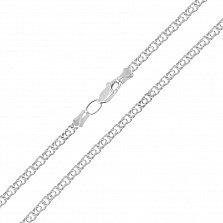Серебряная цепь Ямайка в плетении бисмарк, 2,5 мм