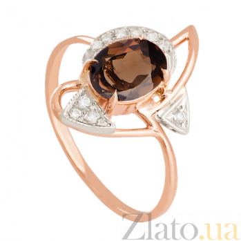 Золотое кольцо с раухтопазом и фианитами Фея VLN--112-681-2