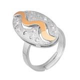 Серебряное кольцо Светлячок с фианитами и золотой накладкой