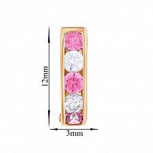 Серьги в красном золоте Агния с кристаллами Swarovski розового и белого цвета