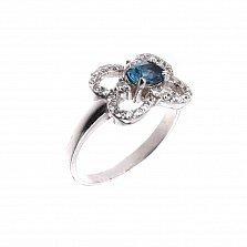 Серебряное кольцо Имонея с цветком, лондон топазом и фианитами