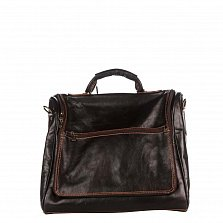 Кожаная дорожная сумка Genuine Leather 8817P темно-коричневого цвета на молнии со съемным ремнем