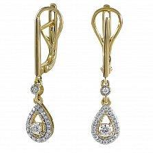 Золотые серьги-подвески Снежная королева в желтом цвете с бриллиантами
