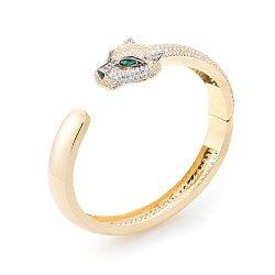 Золотой браслет Зеленоглазая пантера с зелеными и белыми фианитами