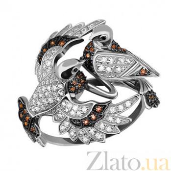 Кольцо Влюбленная парочка с коньячными фианитами VLT--TT1081