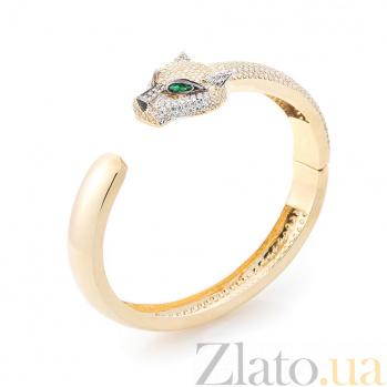 Золотой браслет Зеленоглазая пантера с зелеными и белыми фианитами 000082259