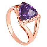 Золотое кольцо с александритом и фианитами Джиованна