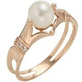 Золотое кольцо Баронесса с жемчугом и фианитами