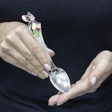 Серебряная чайная ложка Мышонок Джерри с цветной эмалью
