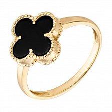 Кольцо из желтого золота Марго с черным агатом в стиле Ван Клиф