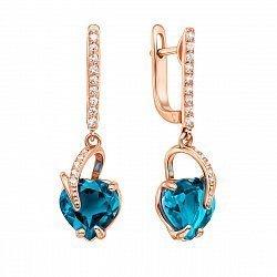 Золотые серьги-подвески в красном цвете с сердечками - голубыми топазами и фианитами 000122213