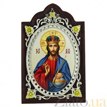Серебряная икона с фианитами Господь Вседержитель 2.78.0607