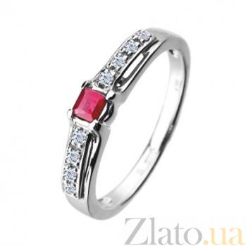 Золотое кольцо с рубином и бриллиантами Амазонка KBL--К1499/бел/руб