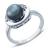 Серебряное кольцо с черным жемчугом и фианитами Наира