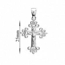 Золотой крестик Вечная защита в белом цвете металла