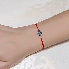 Шёлковый браслет Ангелочек с серебряной вставкой